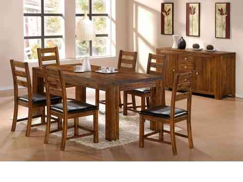 Soild Acacia Wooden Dining Table and 6 Chairs set