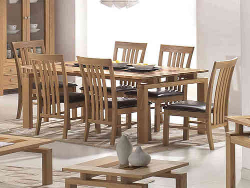 Large Wooden Dining Table and 6 Brown Faux Leather Chairs set