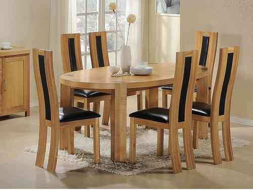 Solid Wooden Oval Dining Table and 6 Chairs set