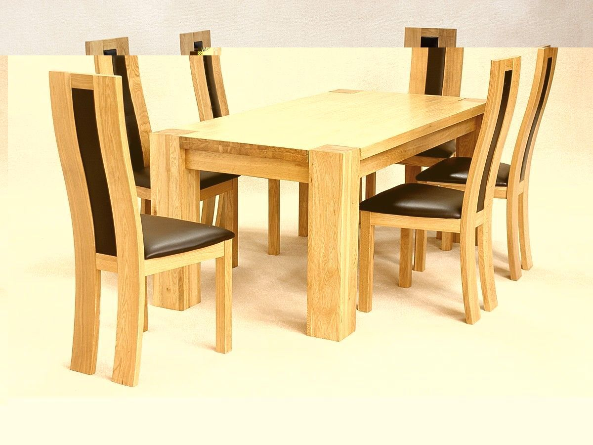 Solid Wooden Rectangle Dining Table And 6 Chairs Set 2