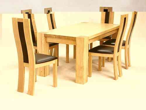 Solid Wooden Rectangle Dining Table and 6 Chairs set