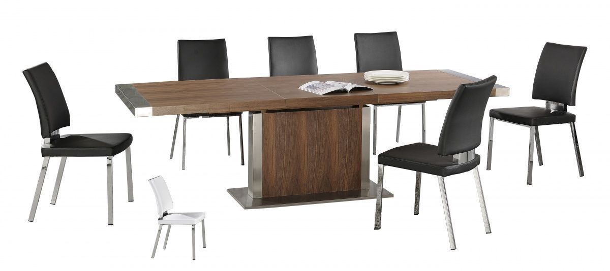 Modern large walnut wooden extending dining table and 6 chairs for Modern large dining table