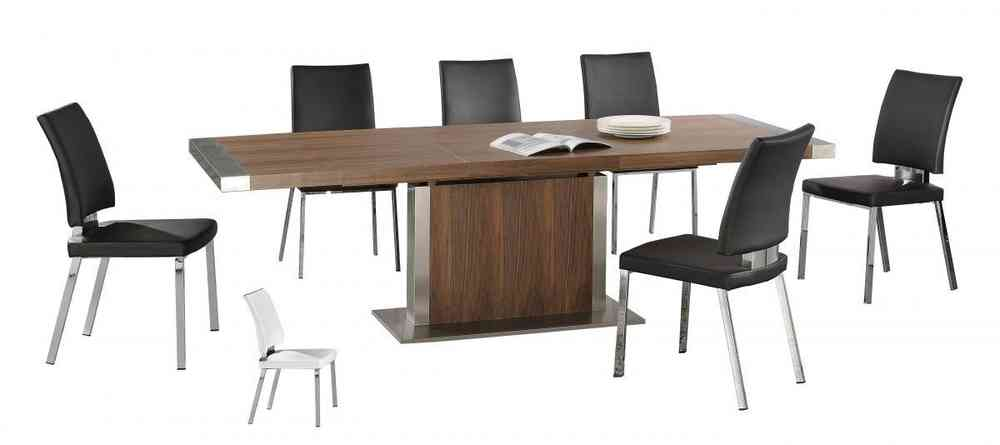 Modern Large Walnut Wooden Extending Dining Table And 6 Chairs Set