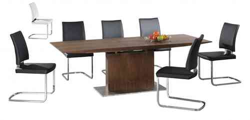 Extra large extending wooden dining table and 8 chairs set