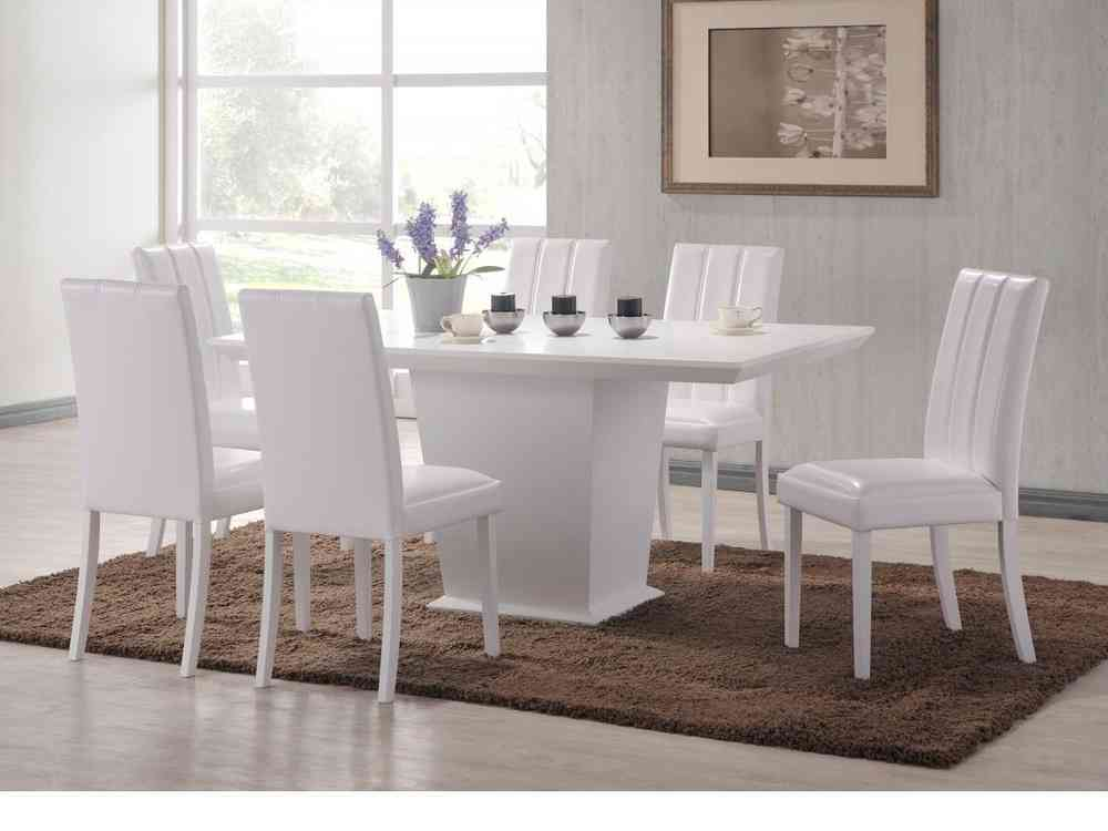 Large White Wooden Dining Table And 6 Chairs Set