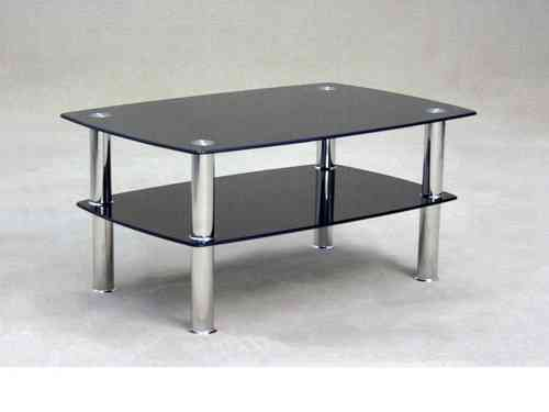 Black glass coffee table with storage shelf