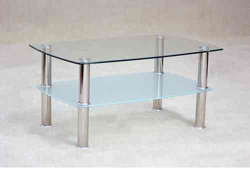 Glass coffee table with storage shelf clear / frosted