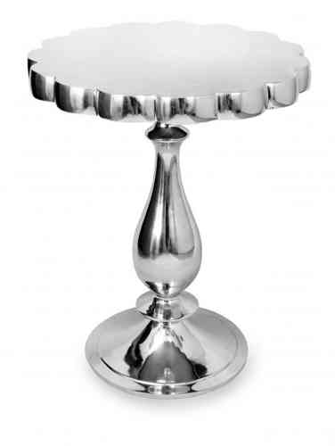 Round side lamp table polished aluminium -ref 3