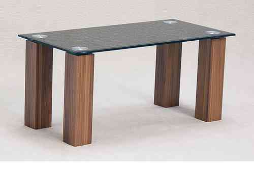 Black glass coffee table with dark oak finish base