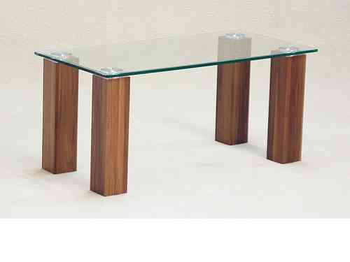 Clear glass coffee table with dark oak finish base