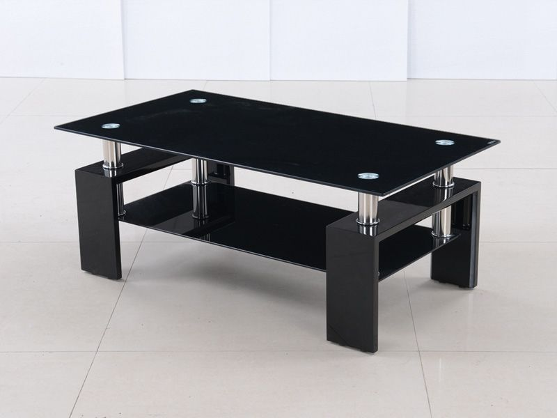 modern black glass and high gloss coffee table - homegenies