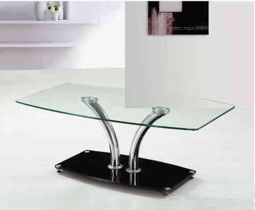 Large clear glass coffee table with black glass base