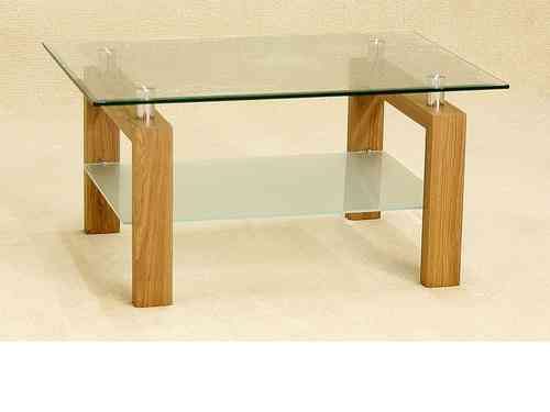 Clear glass coffee table with wood oak finish base
