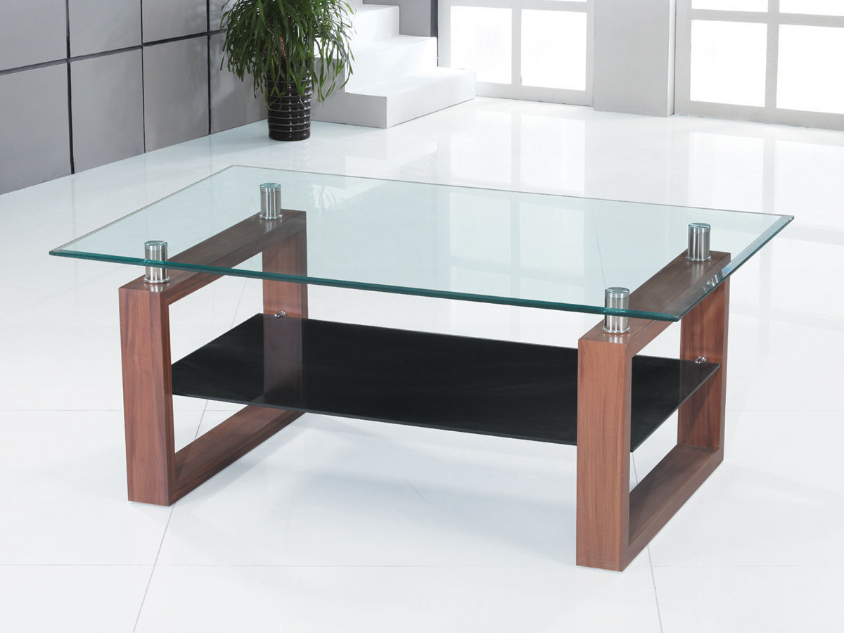 Clear Glass Coffee Table With Black Glass Shelf Homegenies