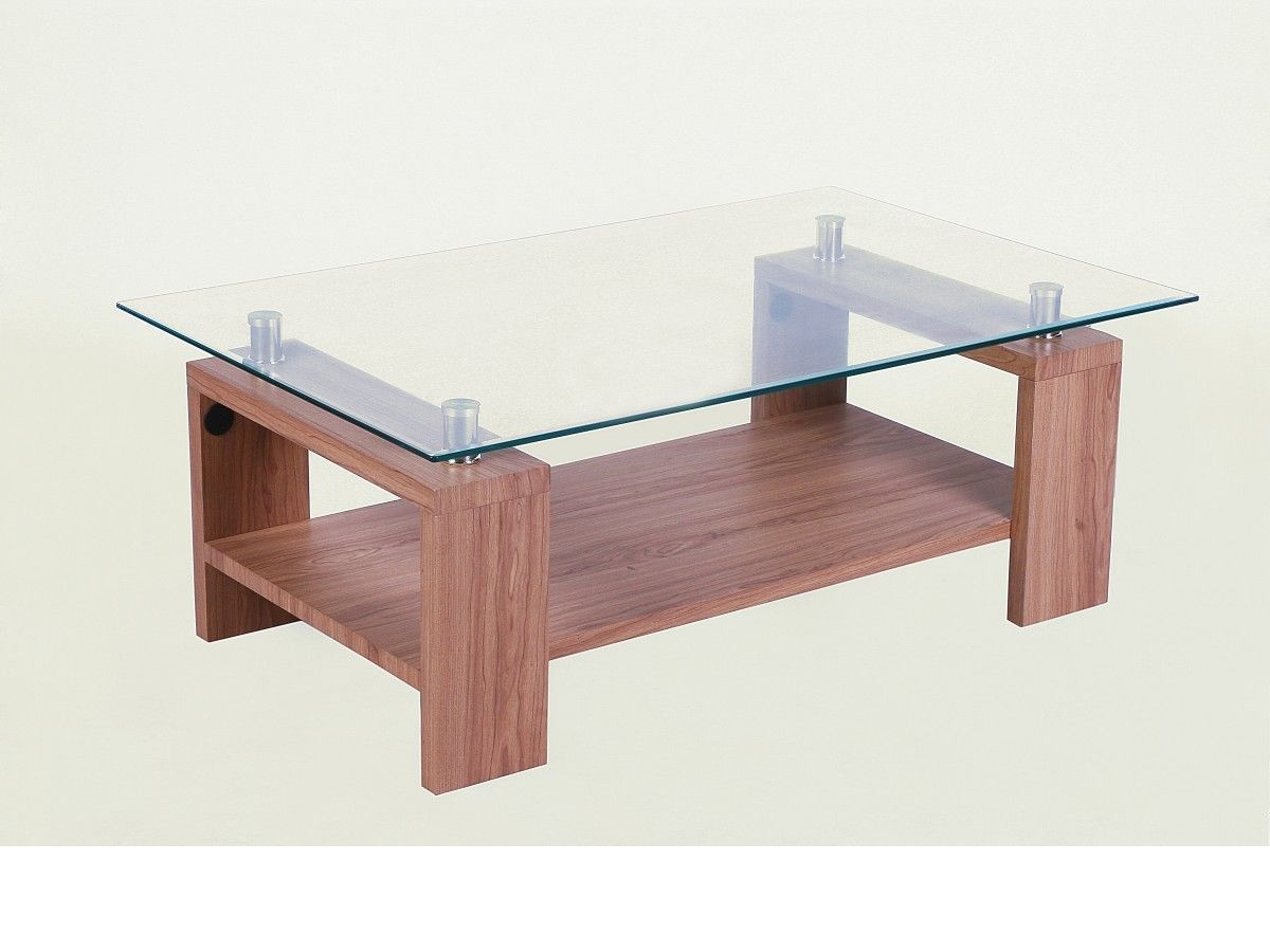 Clear Glass Coffee Table With Wooden Legs Homegenies