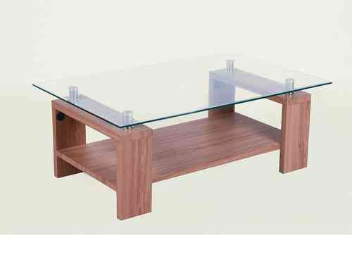 Clear glass coffee table with wooden legs