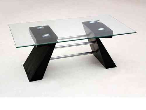 Clear glass coffee table with black shaped wooden base