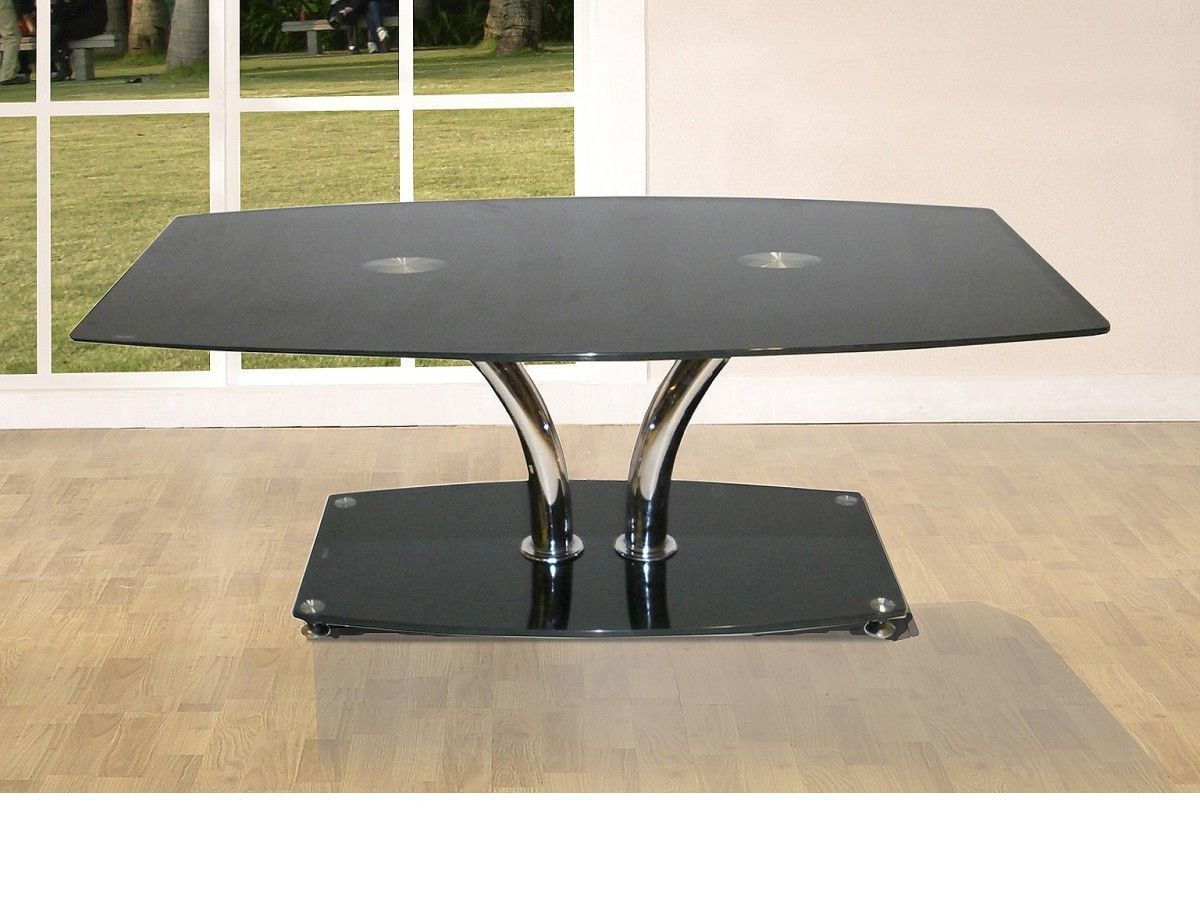 Large glass coffee table with black glass base homegenies for Big glass coffee table