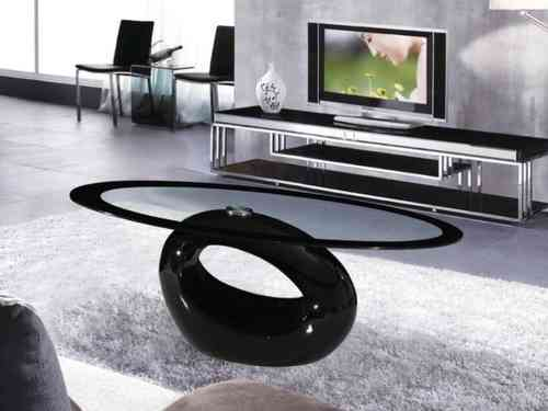 Black Oval Glass Coffee table High Gloss Base