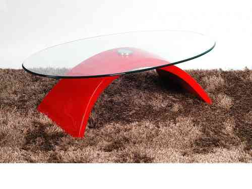 Glass Coffee Table With Red High Gloss Finish Base