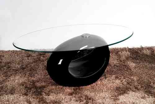 Oval Glass Coffee Table With Black High Gloss Base