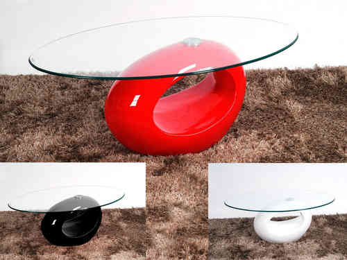 Oval Glass Coffee Table With Red High Gloss Base