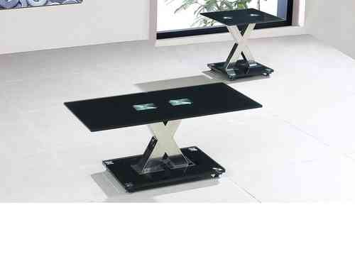 Black glass coffee table with X chrome base