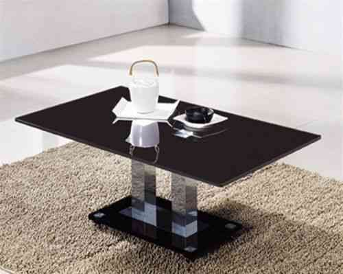 Large Black Rectangular Glass Coffee Table