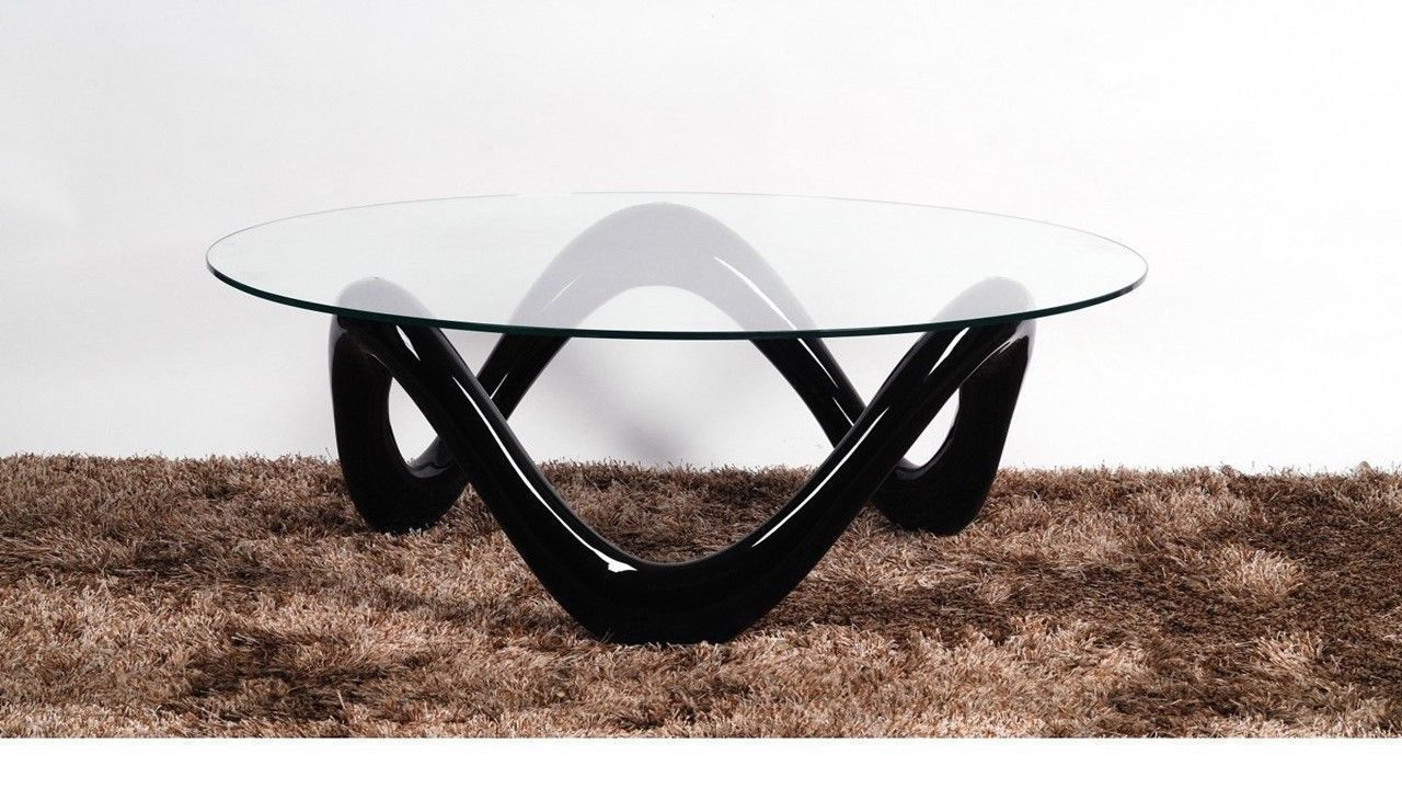 Round glass coffee table with black high gloss base homegenies Glass coffee table base