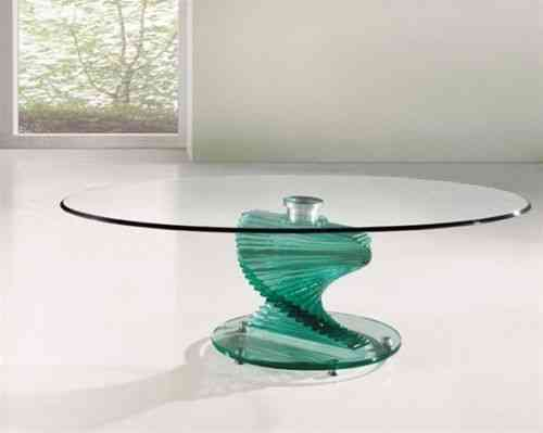 Twirl Glass Round Clear Coffee Table