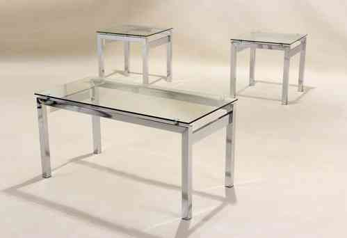 Clear glass coffee table 2 matching side table, lamp table set