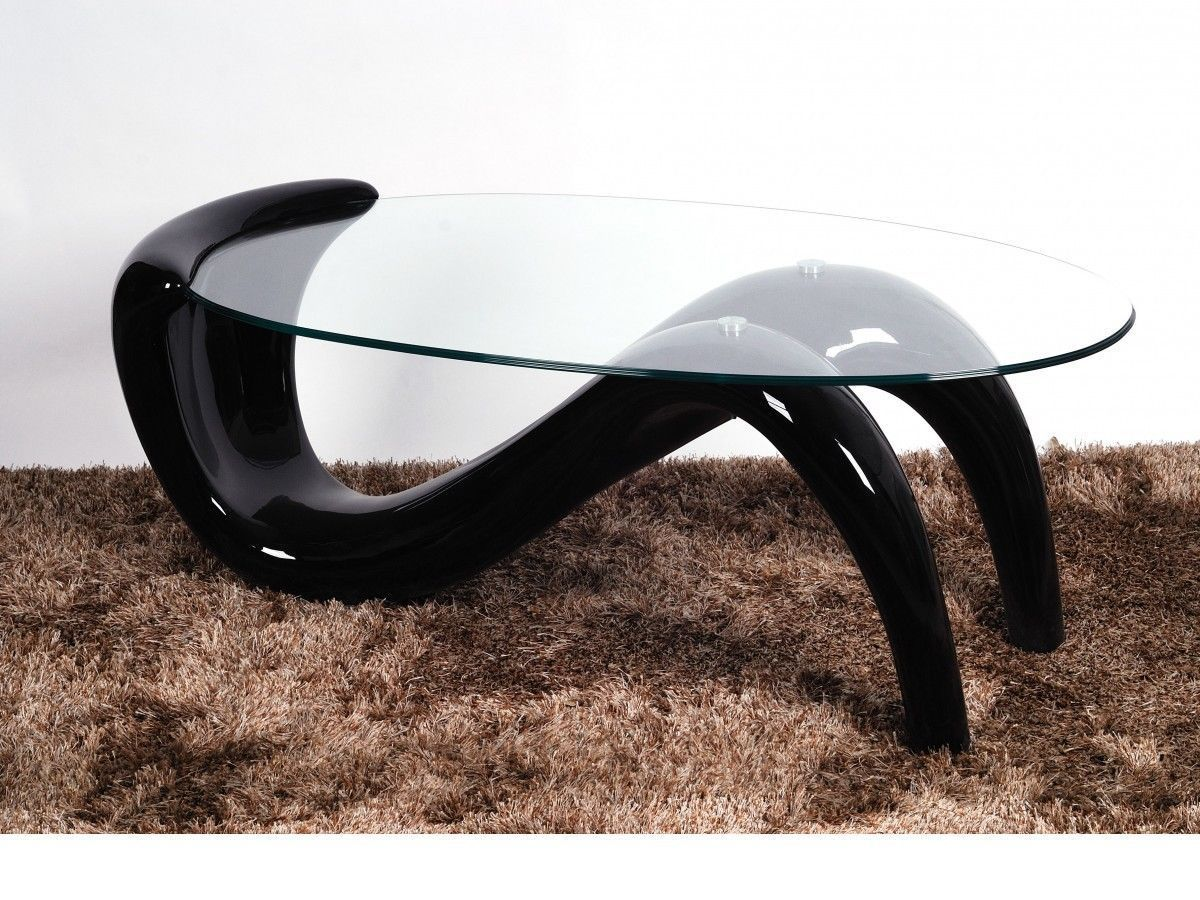 Large Glass Coffee Table With Black High Gloss Base Homegenies