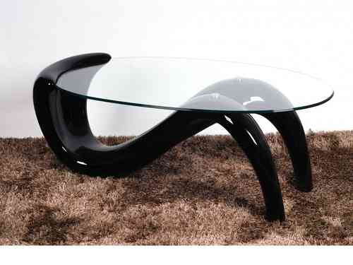 Large Glass Coffee Table With Black High Gloss Base