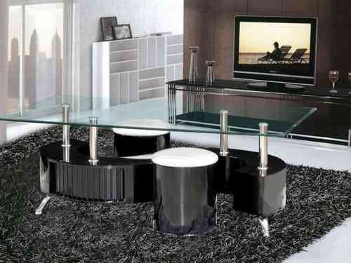 Black high gloss s shaped coffee table and 2 stools