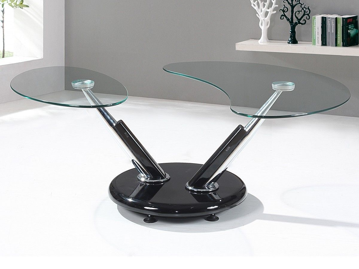 Black high gloss adjustable clear glass coffee table - How high should a coffee table be ...