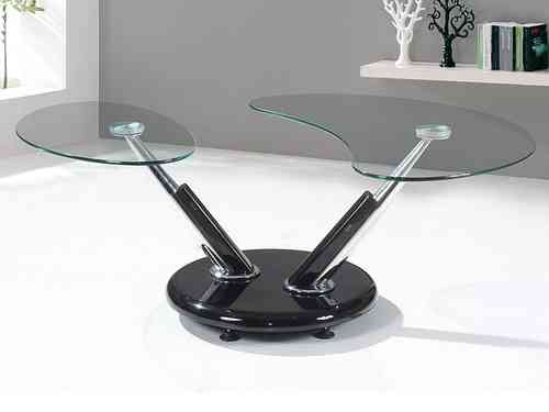 Black high gloss adjustable clear glass coffee table