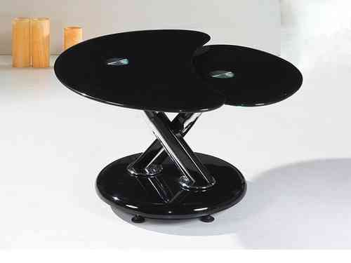 Black high gloss adjustable glass coffee table