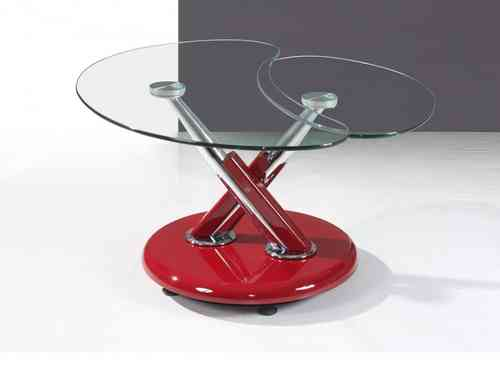 Red high gloss adjustable clear glass coffee table
