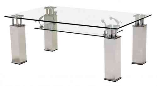 Clear glass coffee table with aluminium legs
