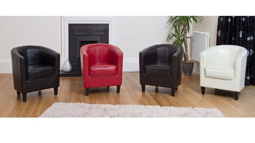 Leather tub chair & Sofa in Black, Brown, Red, Cream