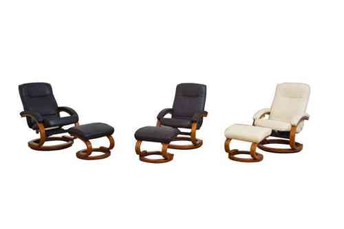 Leather recliners with footstool black, brown, cream