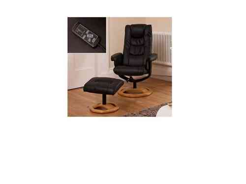 Massage leather recliners with footstool black/brown/cream