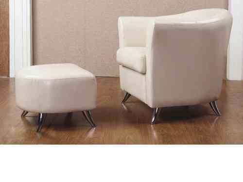 Leather tub chair with foot stool cream, black, brown