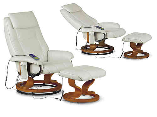 Massager recliner and footstool cream, black, brown