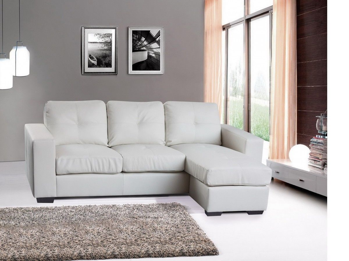 Modern Corner Sofa Suite Bonded Leather White Black