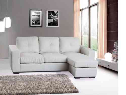 Modern corner sofa suite bonded leather white/black