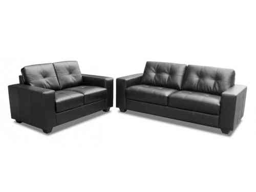 Black/brown 3+2 seater mix leather sofa suite