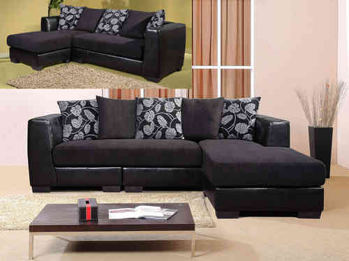 Black 3 seater chaise sofa suite faux leather / fabric