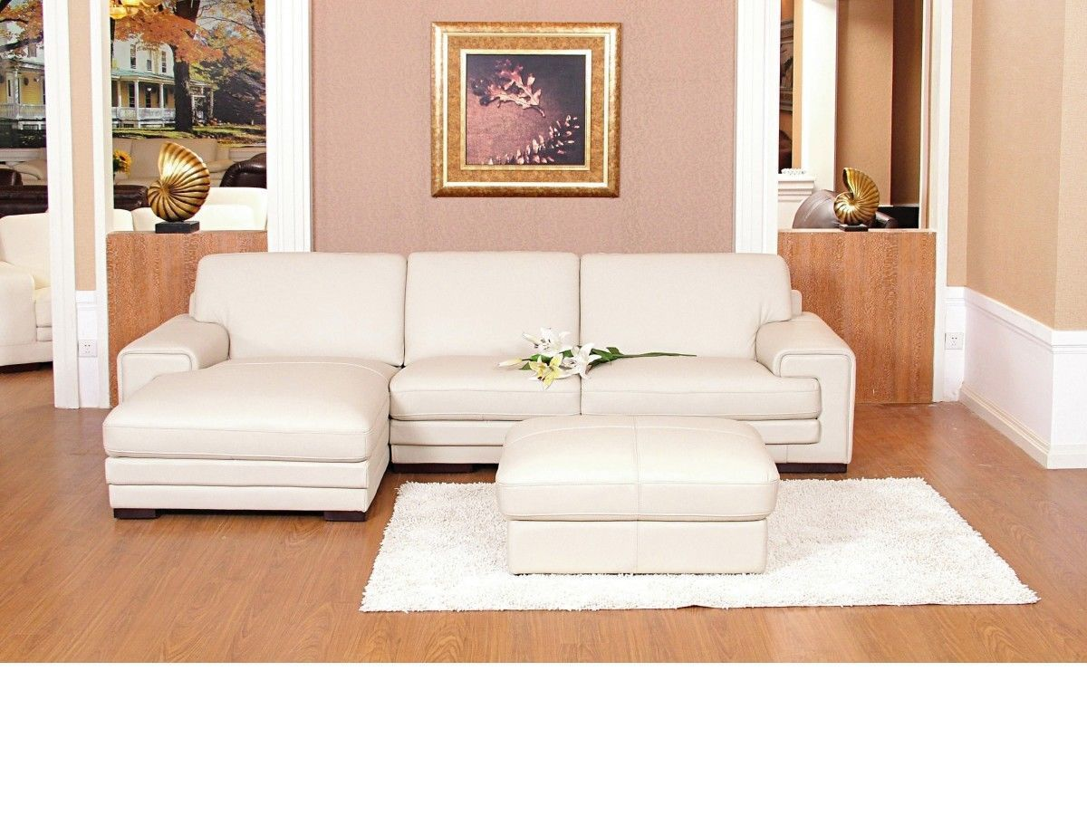 Chaise corner sofa leather mix cream black brown - Homegenies