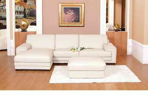 Chaise corner sofa leather mix cream black brown with footstool
